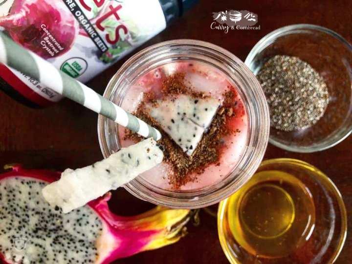 Dragon fruit beet chia smoothie orpudding