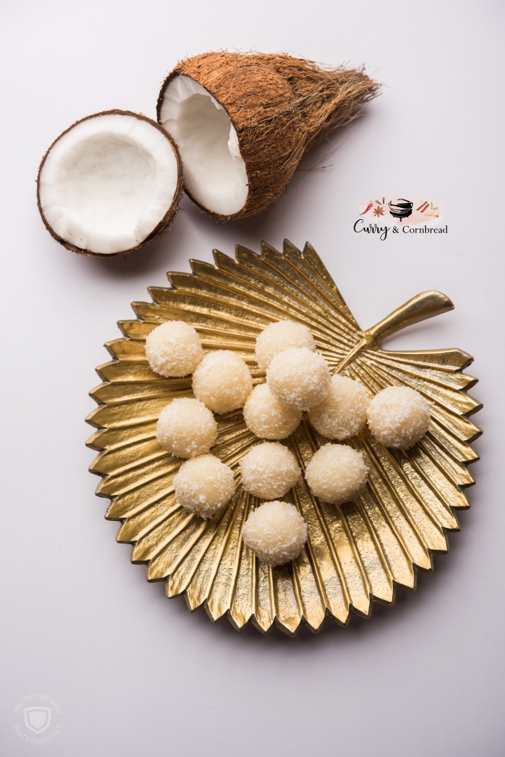 Sweet coconut ladoos (sphere-shaped sweets)