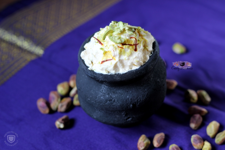 Kesar Pista Elaichi Shrikhand (Sweet yogurt with saffron, pistachio, and cardamom)